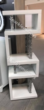 * Diamond Crush Crystal white 5 Tier Shelf Unit