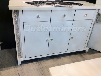 * Diamond Crush Crystal white 3 Door / 3 Draw Pillar Sideboard