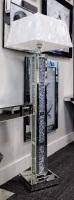 ^Diamond Crush Crystal Block Mirrored Tall Lamp 30.5cm x 142cm grey shade