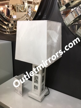 Diamond Crush Blocks Mirrored Lamp white with shade