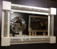 * New Diamond Crush Sparkle White Pillar Wall Mirror 120cm x 80cm