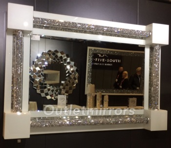 * New Diamond Crush Sparkle White Pillar Wall Mirror 120cm x 80cm in stock
