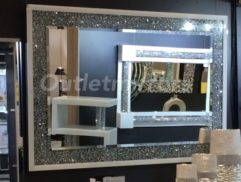 *special offer* New Diamond Crush White Sparkle Wall Mirror 130cm x 90cm instock for fast delivery
