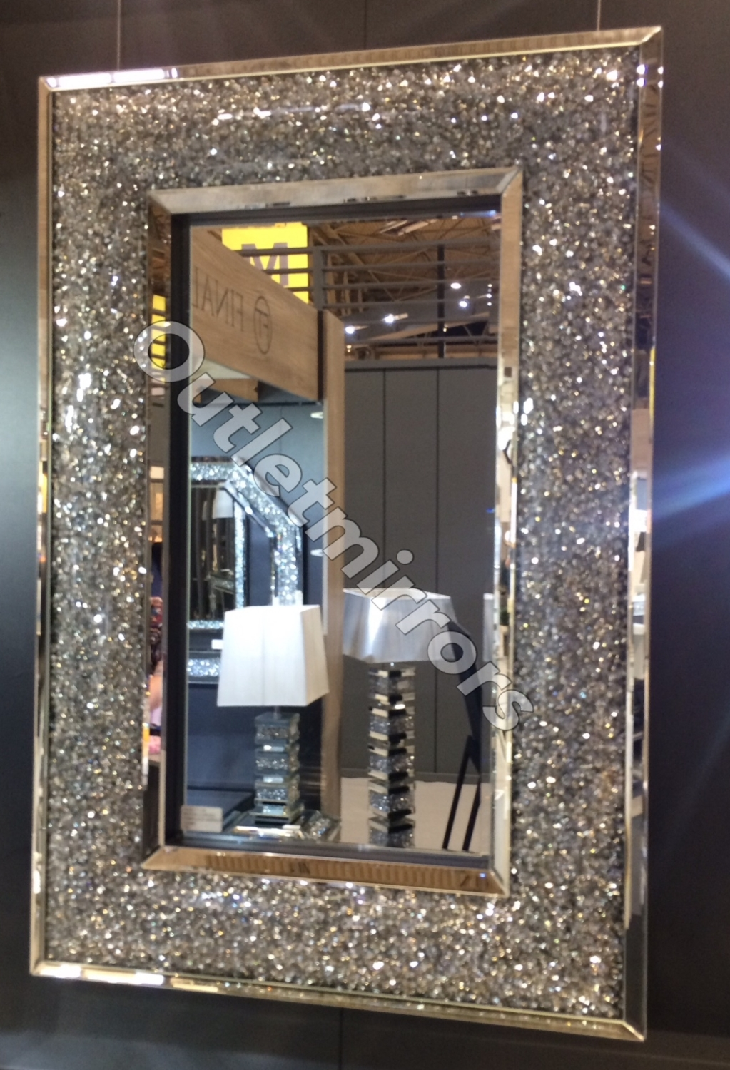 New Diamond Crush Sparkle Bow Wall Mirror 130cm X 90cm