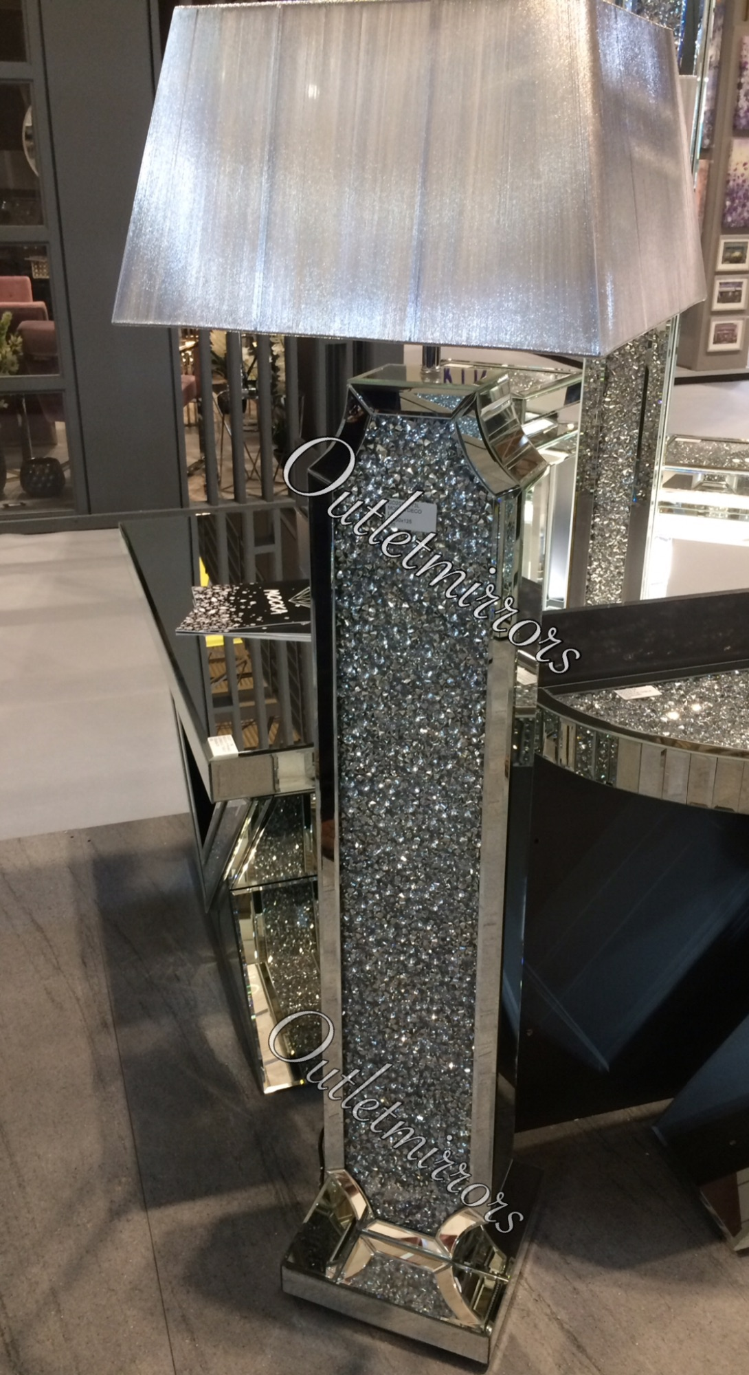 Diamond Crush Crystal Sparkle Shaped Wide Mirrored Tall Floor Lamp Silver Shade