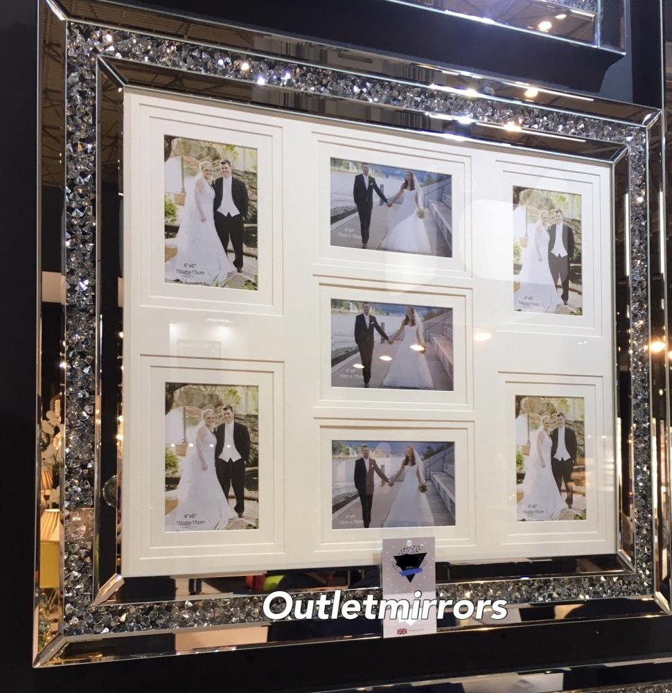 Diamond Crush Crystal Mirrored Photo Frame 70cm x 60cm