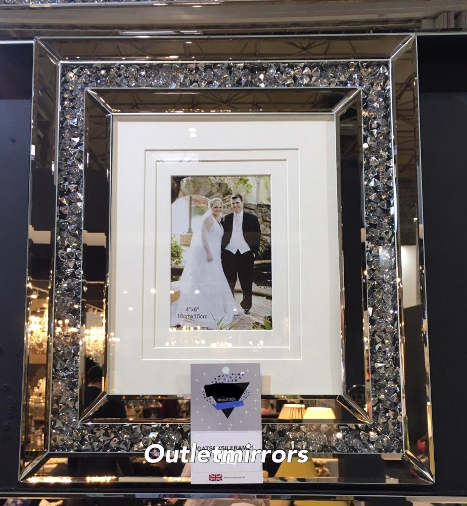 Diamond Crush Crystal Mirrored Photo Frame 35cm x 40cm
