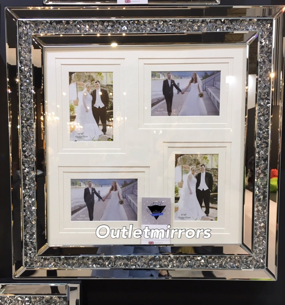 Diamond Crush Crystal Mirrored Photo Frame 55cm x 55cm