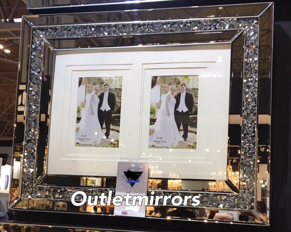 Diamond Crush Crystal Mirrored Photo Frame 50m x 40cm