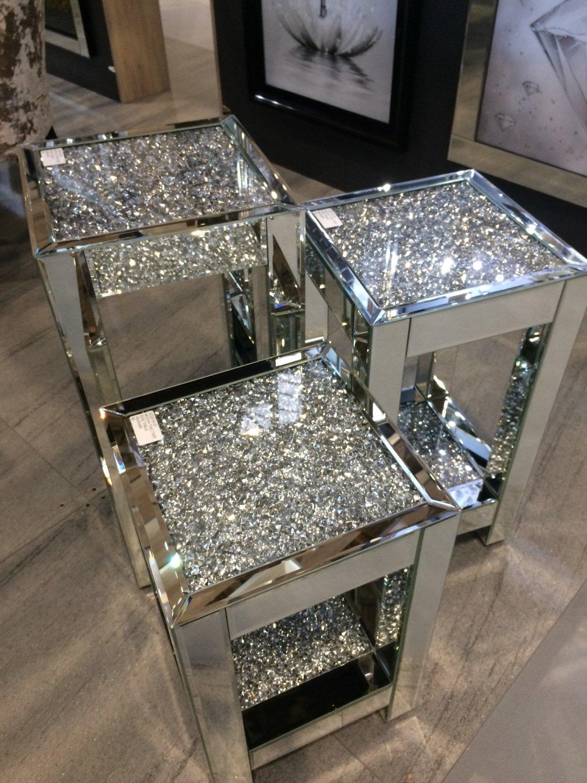 Diamond Crush Sparkle Crystal Mirrored Lamp Table Medium