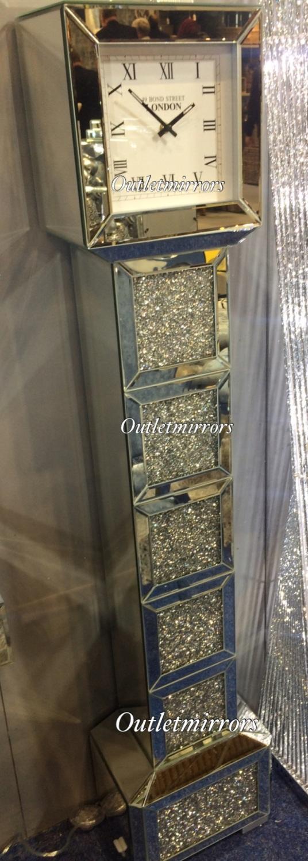 New Mirrored Diamond Crush Floor Standing Savanah Grand Father Clock In Stock