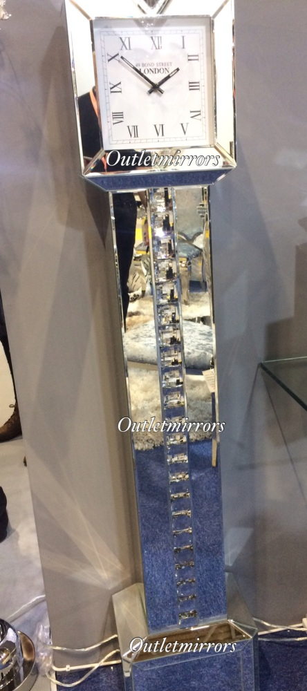 *** New Mirrored Crystal Strip Floor Standing Grand Father clock in stock