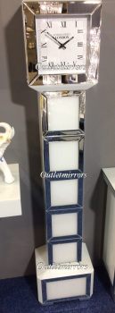 *** New Mirrored Silver & White Floor Standing Susie Grand Father clock in stock