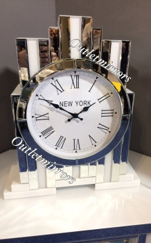 *** New Mirrored Silver & White  Art Deco Manhatten clock without Shelve