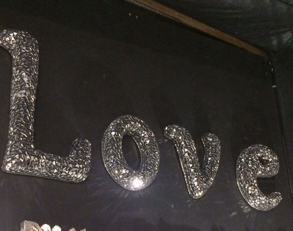 *Sparkle Mosaic Crush glass Letters