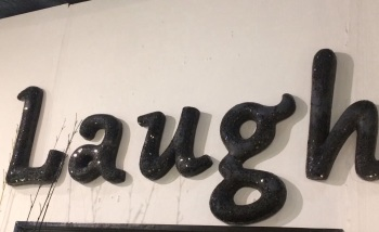 "*Sparkle Mosaic Crush glass Letters ""Laugh"" large"