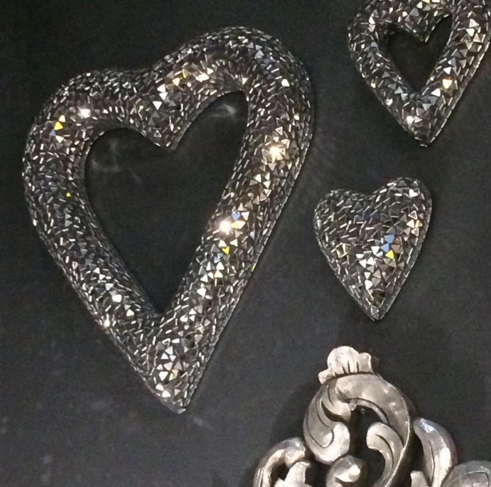 *Sparkle Mosaic Crush glass Love hearts set of 3