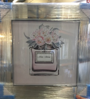 "Mirror framed Sparkle Glitter Art ""Miss Diva Blooming Bouquet"""