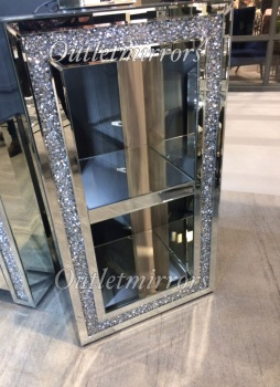 * New Diamond Crush Sparkle Crystal Mirrored Block medium Display stand