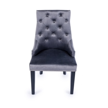 Knocker Back Crush Velvet Dining Chair in Dark Charcoal Grey