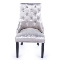 Knocker Back Crush Velvet Dining Chair in Silver