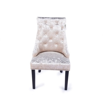 Knocker Back Crush Velvet Dining Chair in Light Champagne