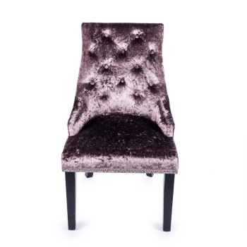 Knocker Back Crush Velvet Dining Chair in Plum Purple