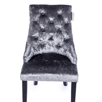 Knocker Back Crush Velvet Dining Chair in deep Silver