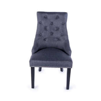 Knocker Back Linen Chair in Black