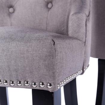 Knocker Back Linen Chair in Brown