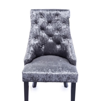 Crush Velvet Dining Chair in Silver Grey