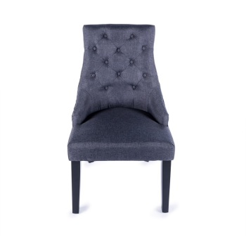 Linen Dining Chair in Black