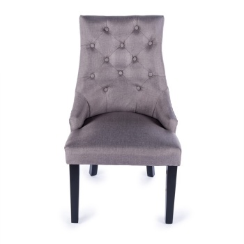 Linen Dining Chair in Brown