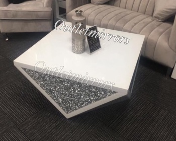 * New Diamond Crush Sparkle Crystal Mirrored White Coffee Table item in stock