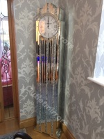 *** New Mirrored Diamond Crush Floor Standing Art Deco Manhatten clock in stock