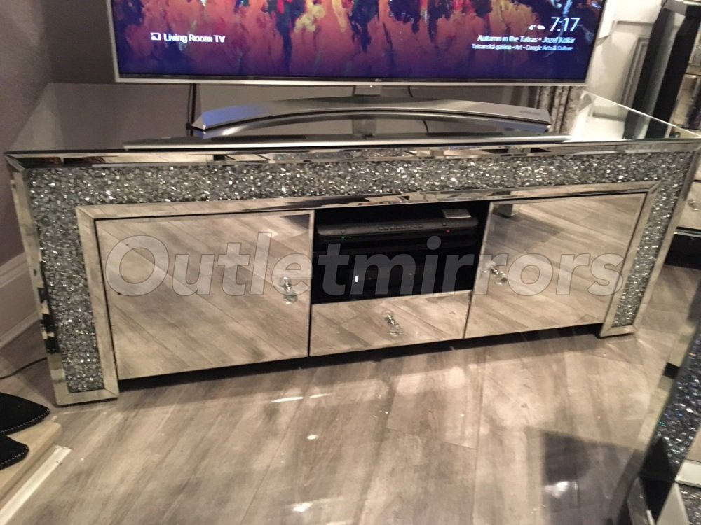 * New Diamond Crush Crystal Sparkle Mirrored TV Entertainment Unit item in