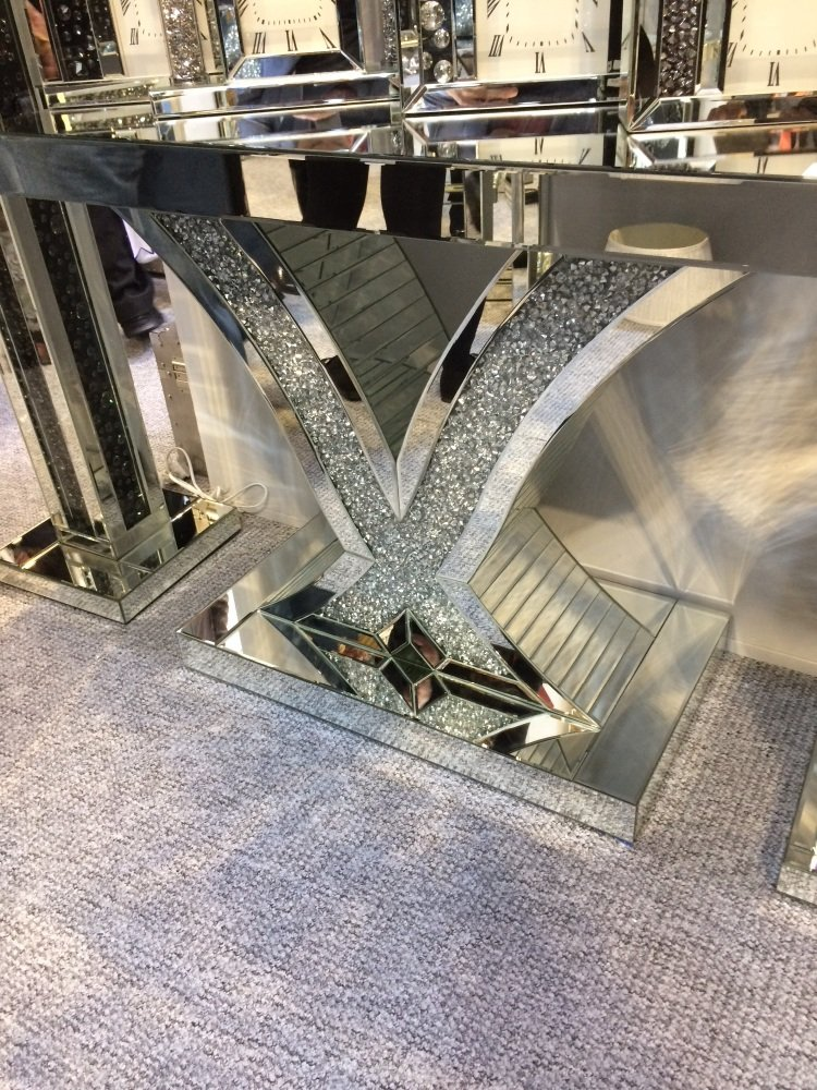 *Diamond Crush Crystal Sparkle Wave Console Table item in stock