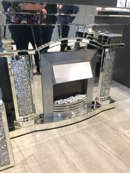 * Diamond Crush Sparkle Mirrored Emperor fire place with electric fire with free delivery