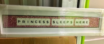 Princess Sleeps Here Pink Sparkle glitter Art 90cm x 20cm