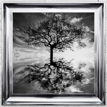"""Mirror framed art print """"Glitter Sparkle Reflections Tree"""" Choice of frame colours"""