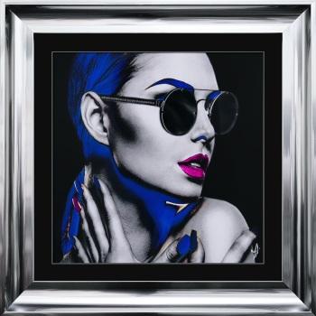 """framed art print """"Glitter Neon Girl"""" Choice of frame colours"""