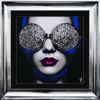 """framed art print """"Glitter Neon Girl 2"""" Choice of frame colours"""