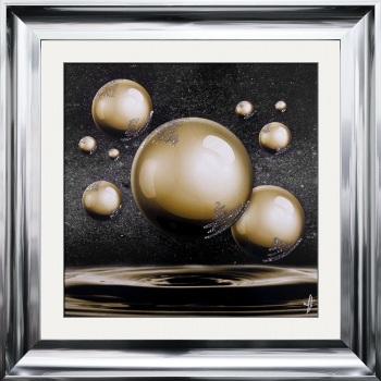 "framed art print ""Glitter Sparkle Orbs Gold"" Choice of frame colours"