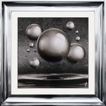 """framed art print """"Glitter Sparkle Orbs Silver Grey"""" Choice of frame colours"""