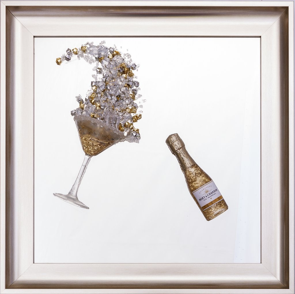 3D Champagne celebration Gold wall art on a Silver mirror in a Brushed silv