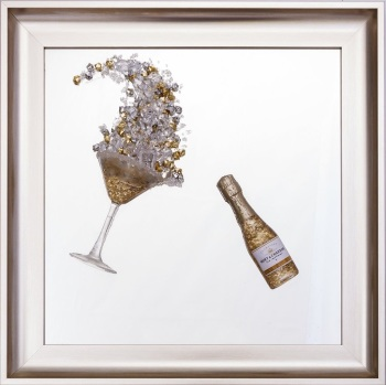 3D Champagne celebration Gold wall art on a Silver mirror in a Brushed silver gold frame