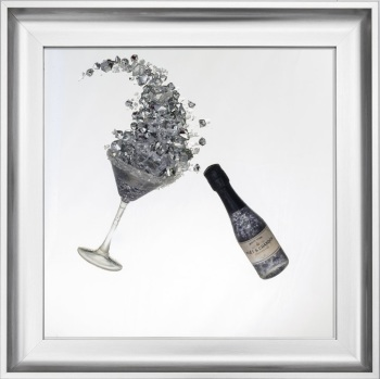 3D Champagne celebration Silver wall art on a Silver mirror in a silver frame