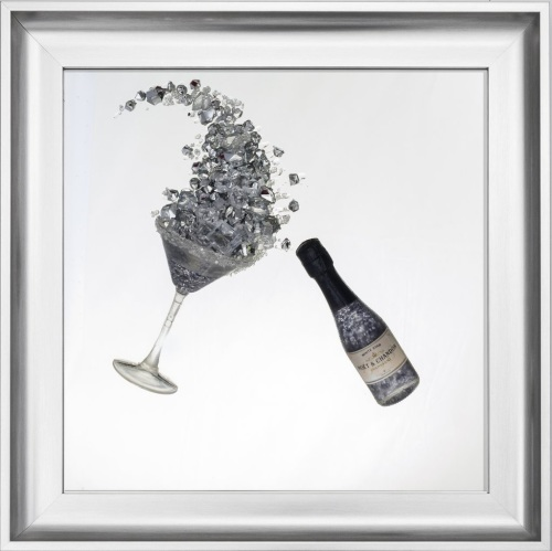 3D Champagne celebration Silver wall art on a Silver mirror in a Brushed si