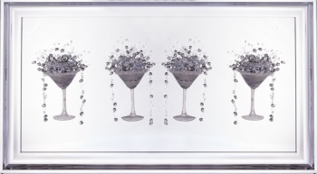 3D Martini silver 4 Cup wall art on a Silver mirror backing In a silver Frame