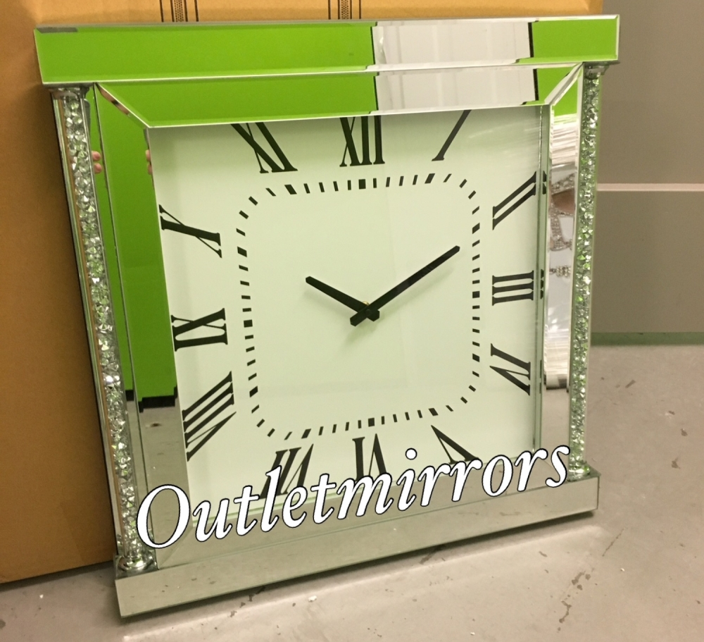 * New Diamond Crush Sparkle Crystal Mirrored Pillar Wall Clock item in stoc